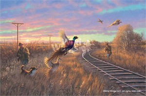 "Michael Sieve Hand Signed and Numbered Limited Edition:""Walking the Line – Pheasant Hunting"""
