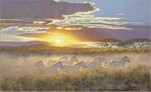"Ron Van Gilder Handsigned & Numbered Limited Edition Canvas Giclee:""Tsavo Sunset-Zebras"""