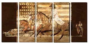 """Darryl Poulin Gallery Wrapped Giclee Canvas Set/5:""""Cowboy Up"""""""