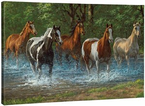"Chris Cummings Gallery Wrapped Open Edition Canvas Giclee:""Summer Creek – Horses"""