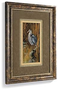 """Rosemary Millette Handsigned and Numbered Limited Edition: """"Designer Framed Blue Heron"""""""