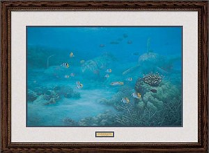 "Randall Scott Handsigned and Numbered Limited Edition: ""Framed Remarqued Shallow Water Lightning"""