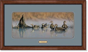 "Scot Storm Handsigned and Numbered Limited Edition: ""Framed Spring Mist-Black Ducks Print"""