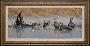 "Scot Storm Handsigned and Numbered Limited Edition: ""Framed Spring Mist-Black Ducks Canvas"""