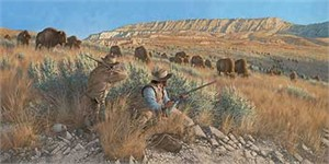 "Michael Sieve Handsigned and Numbered Limited Edition: ""The Buffalo Hunters"""