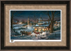 "Terry Redlin Holiday Espresso Framed Limited Edition Holiday Print:""Evening Rehearsals"""