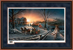 "Terry Redlin Holiday Framed (Walnut) Annual  Limited Edition Christmas Print:""The Pleasures of Winter"""