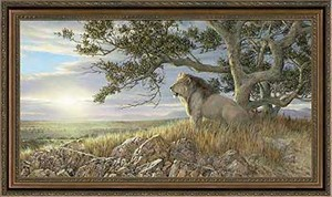 "Ron Van Gilder Handsigned and Numbered Limited Edition: ""Framed Morning Glory-Lion Canvas"""