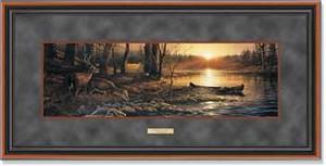 "Terry Redlin Open Edition: ""Dlx. Walnut Framed Morning Glow Horizon"""