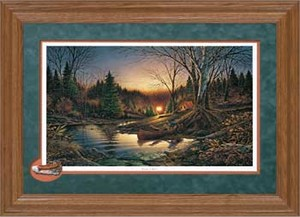 "Terry Redlin Framed Open Edition: ""Cameo Oak Fr. Morning Solitude Encore"""