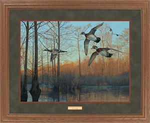 "Scot Storm Framed Open Edition Print: ""GNA Prem;  Early Morning-Wood Ducks"""