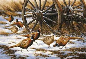"""Rosemary Millette Limited Edition Print: """"Winter Rendezvous-Pheasants"""""""