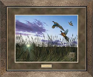 "Anthony J. Padgett Handsigned and Numbered Limited Edition: ""Framed Morning Glory-Pheasants Print"""