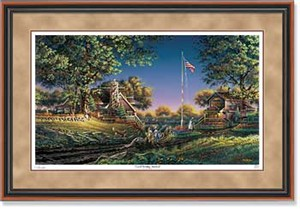 "Terry Redlin Handsigned and Numbered Limited Edition: ""Walnut Framed Good Morning, America!"""