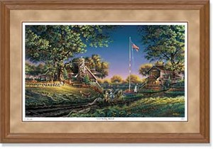 "Terry Redlin Handsigned and Numbered Limited Edition: ""Oak Framed Good Morning, America!"""