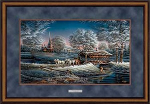 "Terry Redlin Open Edition: ""Deluxe Walnut Framed Morning Frost Elite"""
