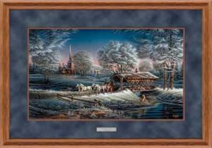 "Terry Redlin Open Edition: ""Deluxe Oak Framed Morning Frost Elite"""