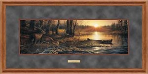 "Terry Redlin Open Edition: ""Deluxe Oak Framed Morning Glow Horizon"""