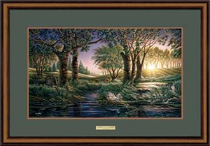 "Terry Redlin Open Edition: ""Walnut Framed Morning on Greens Elite"""