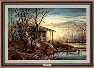 "Terry Redlin Handsigned and Numbered Limited Edition: ""Framed Morning Retreat Legacy Canvas"""