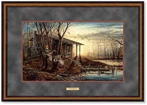 "Terry Redlin Open Edition: ""Dlx. Walnut Framed Morning Retreat Elite"""