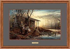 "Terry Redlin Open Edition: ""Oak Framed Morning Retreat Elite"""