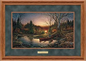 "Terry Redlin Open Edition: ""Dlx. Oak Framed Morning Solitude Encore"""
