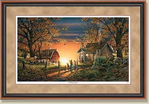 "Terry Redlin Handsigned and Numbered Limited Edition: ""Walnut Framed Morning Surprise AP"""