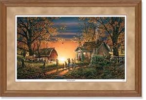 "Terry Redlin Handsigned and Numbered Limited Edition: ""Oak Framed Morning Surprise Artist Proof"""