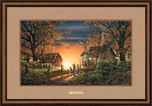 "Terry Redlin Open Edition: ""Walnut Framed Morning Surprise Elite"""