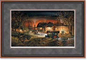 """Terry Redlin Handsigned and Numbered Limited Edition: """"Walnut Framed Morning Warm-Up Print"""""""