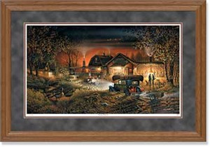"Terry Redlin Handsigned and Numbered Limited Edition: ""Oak Framed Morning Warm-Up Print"""