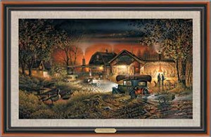 "Terry Redlin Handsigned and Numbered Limited Edition: ""Framed Morning Warm-Up Canvas"""