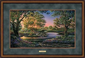 "Terry Redlin Open Edition: ""Dlx. Walnut Framed Spring Morning Elite"""