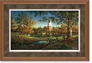 "Terry Redlin Handsigned and Numbered Limited Edition: ""Oak Framed Sunday Morning Artist Proof"""