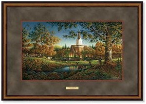 "Terry Redlin Open Edition: ""Dlx. Walnut Framed Sunday Morning Elite"""