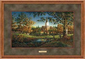 "Terry Redlin Open Edition: ""Dlx. Oak Framed Sunday Morning Elite"""