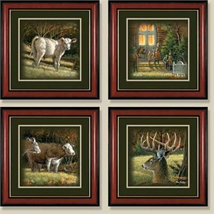 "Terry Redlin Edition: ""Framed Sunday Morning Comp. Print Set/4"""