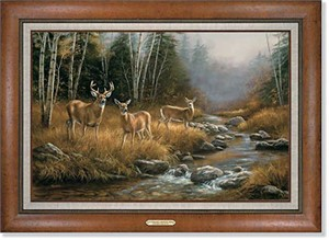 "Rosemary Millette Handsigned and Numbered Limited Edition: ""Framed October Mist-Whitetail Deer"""
