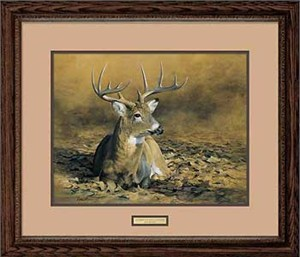"Bob Hautman Handsigned and Numbered Limited Edition: ""Framed October Sun-Whitetail Deer"""