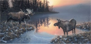 "Jim Kasper Handsigned & Numbered Limited Edition Print:""Cold Start-Moose"""