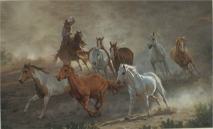 "Chris Cummings Hand Signed & Number Limited Edition Print:""Tumalo Round-up"""