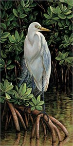 "Rosemary Millette Handsigned & Numbered Limited Edition Print:""Gulf Breezes-Great Egret"""