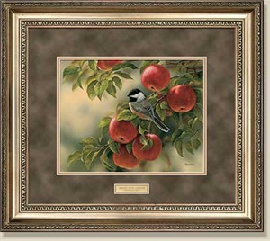 "Rosemary Millette Handsigned Framed Print:  ""Orchard Visitor - Chickadee"""