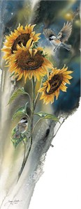 "Janene Grende Handsigned and Numbered Limited Edition Print:""Golden Sun-Chickadees"""