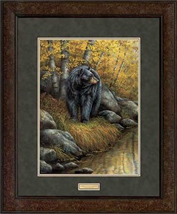 "Rosemary Millette Open Edition Framed Print: ""Shades of Autumn-Black Bear"""