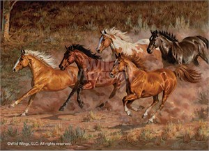 "Chris Cummings Framed Studio Canvas Open Edition:""Downhill Run-Horses Canvas"""