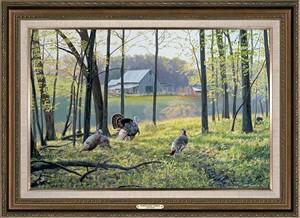 """Jim Kasper Handsigned and Numbered Limited Edition Oversized Framed Canvas:""""Homestead Turkeys """""""