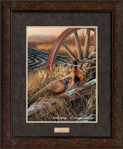 "Rosemary Millette  Open Edition Print: ""Rustic Outlook-Pheasants (Framed)"""