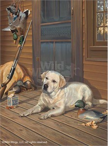 """Scot Storm Open Edition Framed Print: """"Bountiful Day-Yellow Lab"""""""